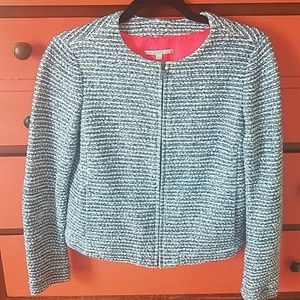 Gap knit cotton blue/white jacket w/neon lining